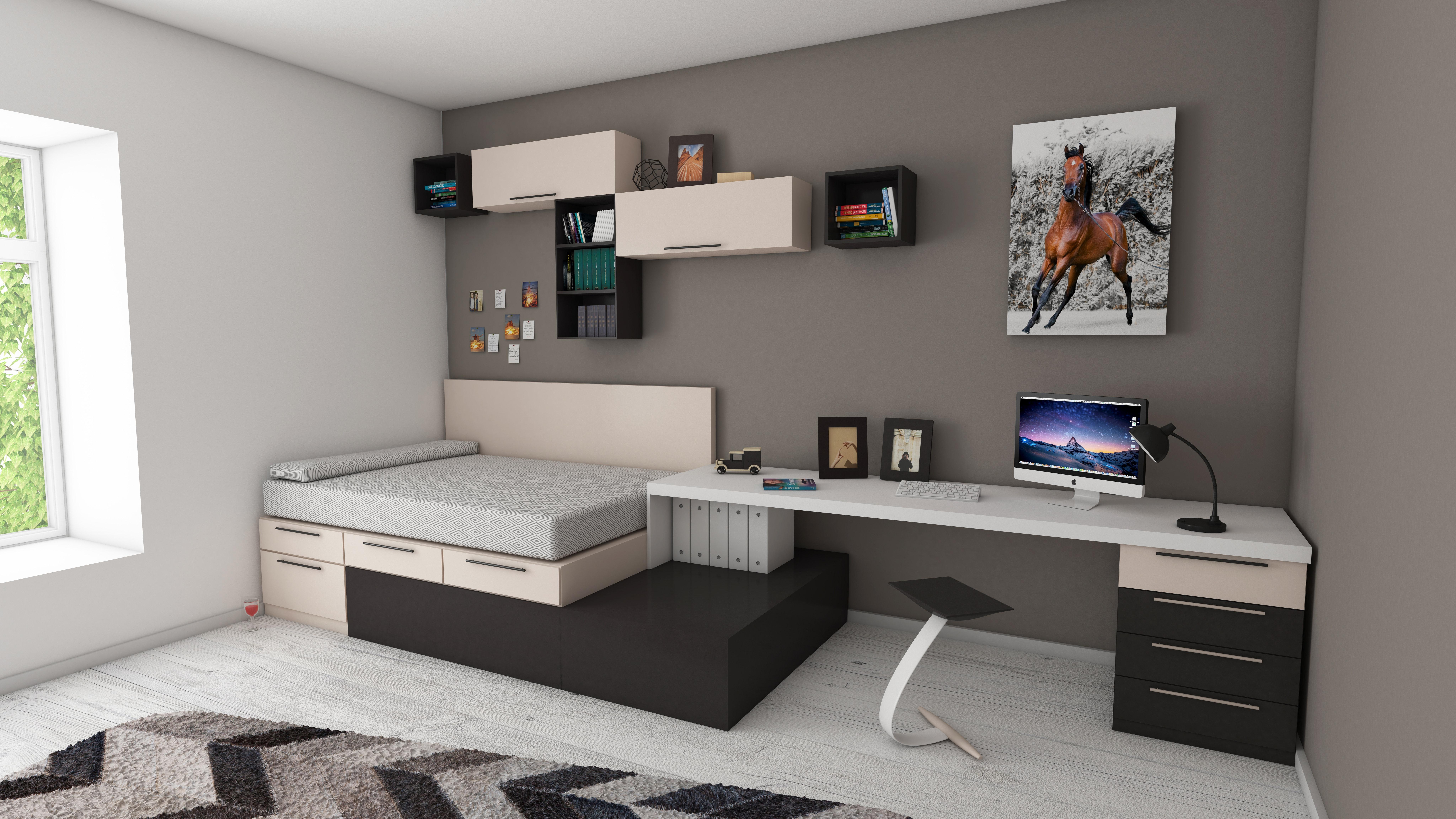 A tidy studio apartment.